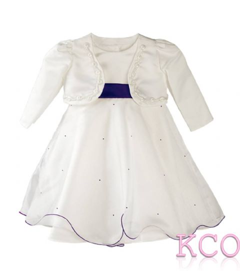 Braid Jacket Dress Ivory/Cadburys Purple~ Girls Dress